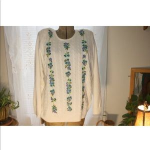 ALDRED DUNNER Sweater,Boho Flower Sweater,XL